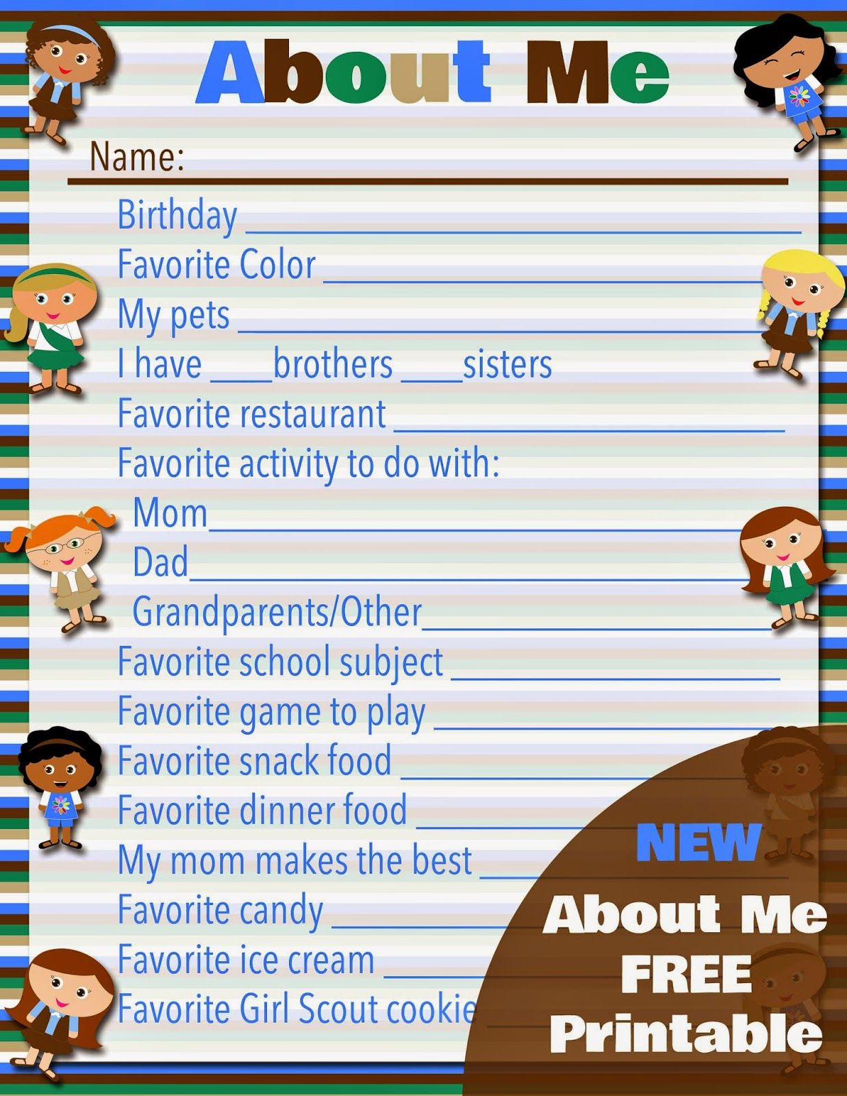 Girl scout scrapbook ideas - Free Printable Girl Scouts About Me For Daisies Brownies Juniors And Cadettes
