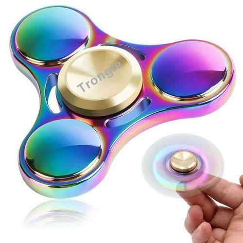 Triangle Rainbow Metal Fidget Finger Spinner EDC Spinning Stress Relief UK Stock