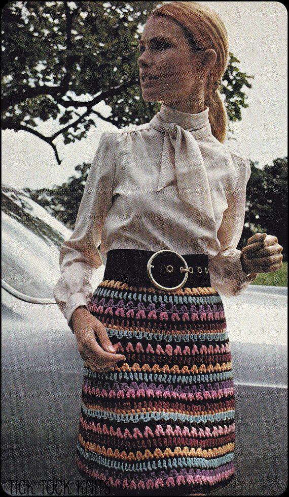 Vintage PDF Häkelanl... zu bunt gestreiften Rock eine Frau, die ...