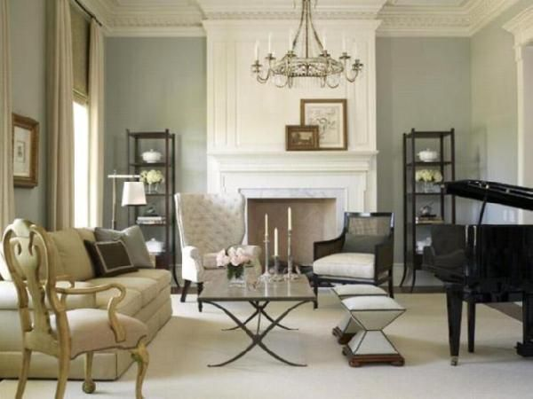 Elegant Transitional Living Room. Love The Tufted High Back Chair And Glass  Coffee Table.