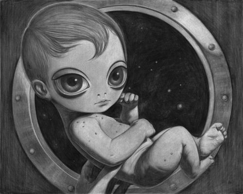 """ANA BAGAYAN """"Hybrid Baby""""  (2011)  Charcoal on canvas  sealed with fixative 30 x 24"""" (76 x 61 cm)  http://thinkspacegallery.com/works/?exhibit=157  http://anabagayan.tumblr.com/"""