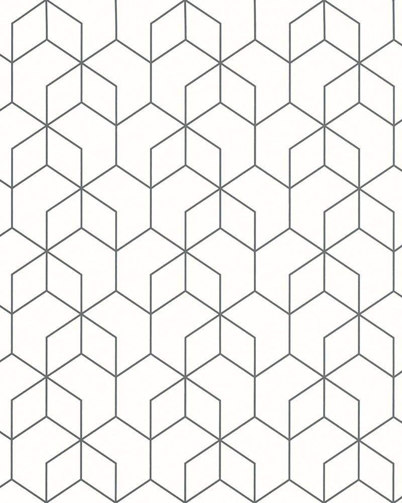 Dimensions 3D Geometric Black and White Wallpaper HI40 in
