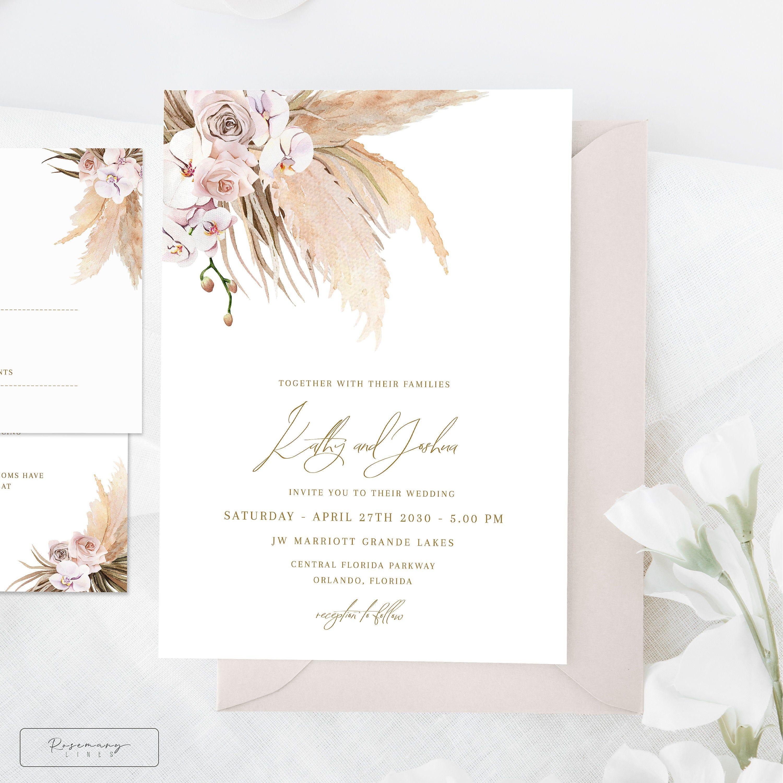 Pampas grass wedding invitation template boho wedding invite