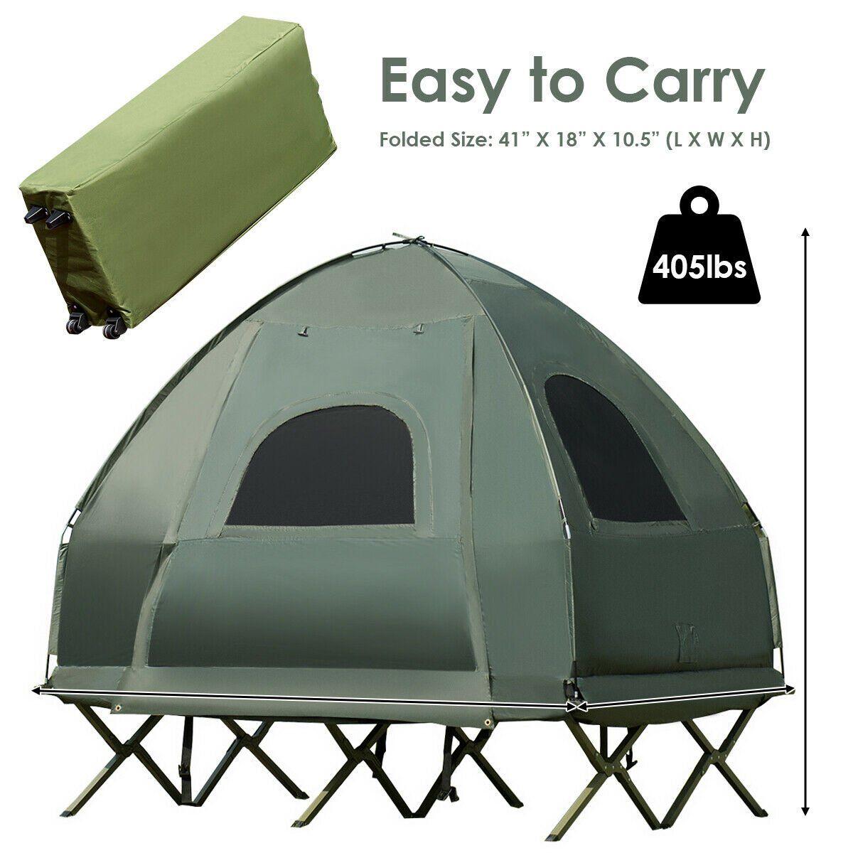 Gymax 2 Person Compact Portable Pop Up Tent Camping Cot W Air Mattress Sleeping Bag Walmart Com Pop Up Tent Pop Up Camping Tent Tent