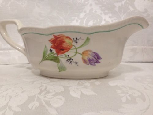 Antique-EDWIN-KNOWLES-Ivory-2928-Gravy-Boat-Thanksgiving-Ware-Floral-Purple-Red