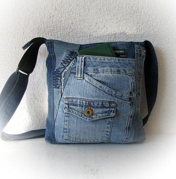 Blue jeans shoulder bag messenger bag
