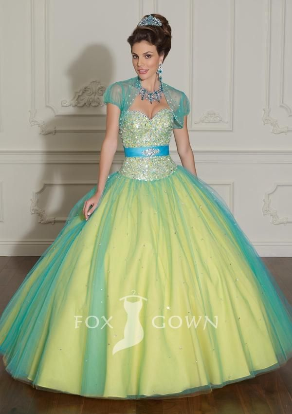 beaded bodice layered tulle over satin quinceanera dress with waistband