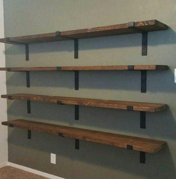Shelf Brackets, Heavy Duty, Floating Brackets, Farmhouse Decor, 2 inch wide, Iron Shelf Bracket, Industrial Decor, Handmade, USA, Set of 2