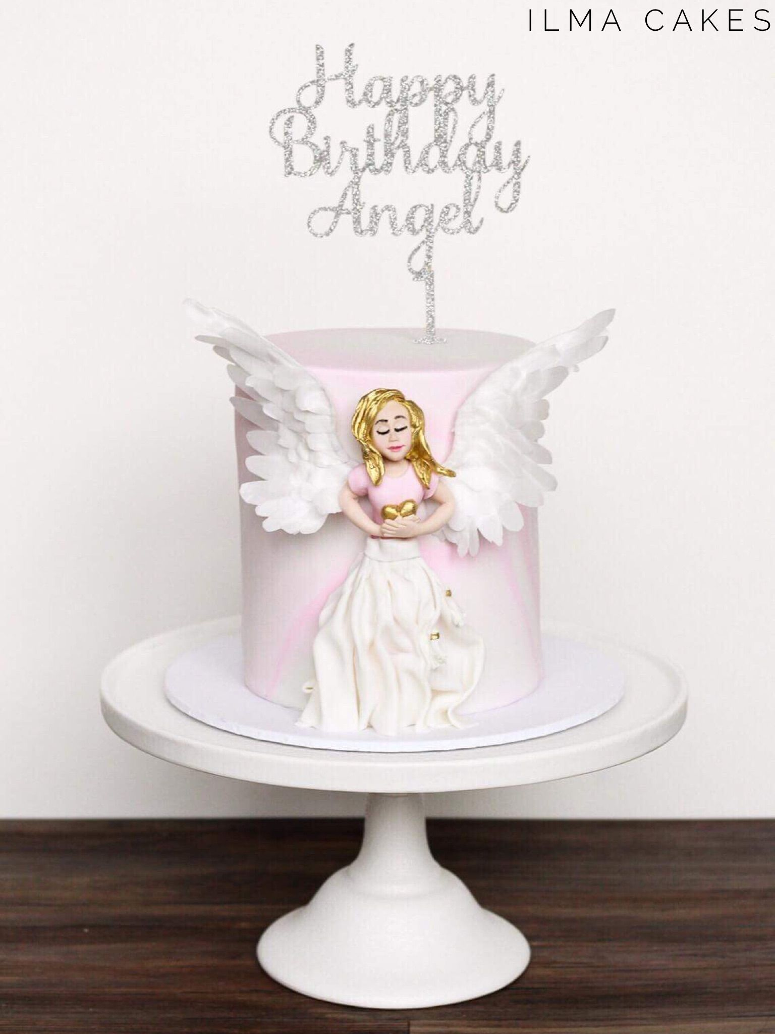 Remarkable Angelic Themed Birthday Cake For A Special Little Angels First Personalised Birthday Cards Epsylily Jamesorg