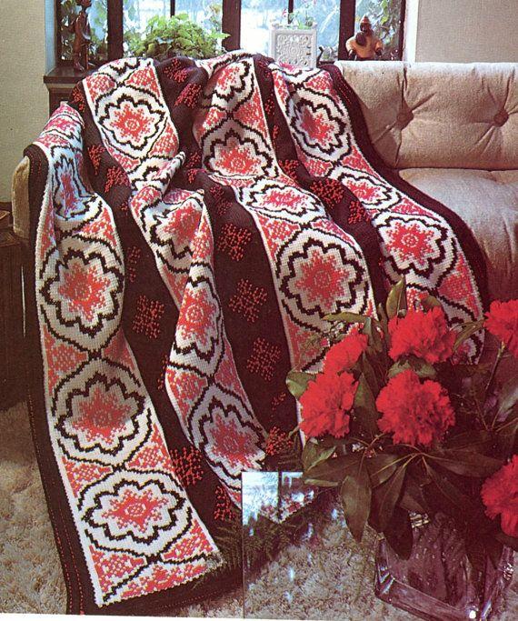 Modern Spanish Afghan PATTERN, Crochet Blanket Pattern