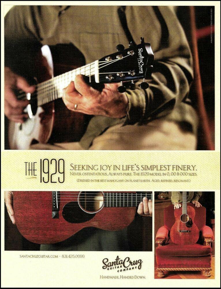 The 1929 Santa Cruz Acoustic Guitar Company Ad 2010 Advertisement Print Santacruz Acoustic Guitar Santa Cruz Guitar