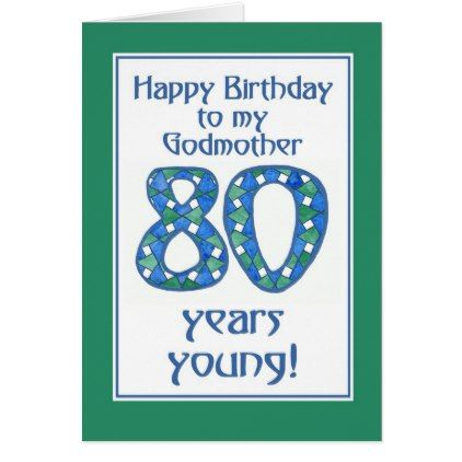 Blue Green White 80th Birthday Godmother Card Zazzle Com 80th Birthday Cards Dad Birthday Card Grandfather Card