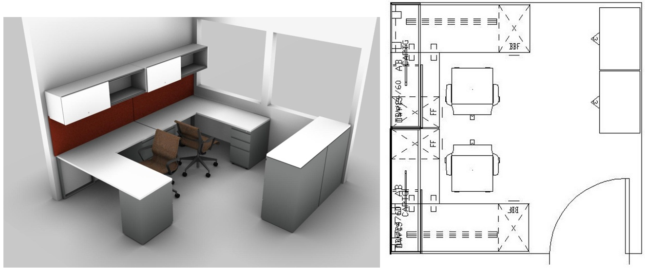 Small spaces design the perfect small office layout for for Office desk layout planner