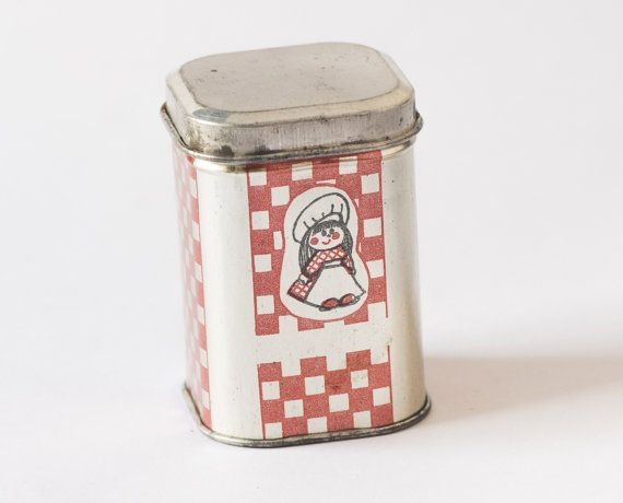 Checked red silver tin canister red box with girl by SovietEra, $5.00