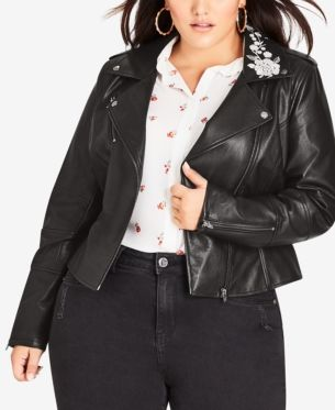 98078cabd Trendy Plus Size Embroidered Faux-Leather Biker Jacket in 2019 ...