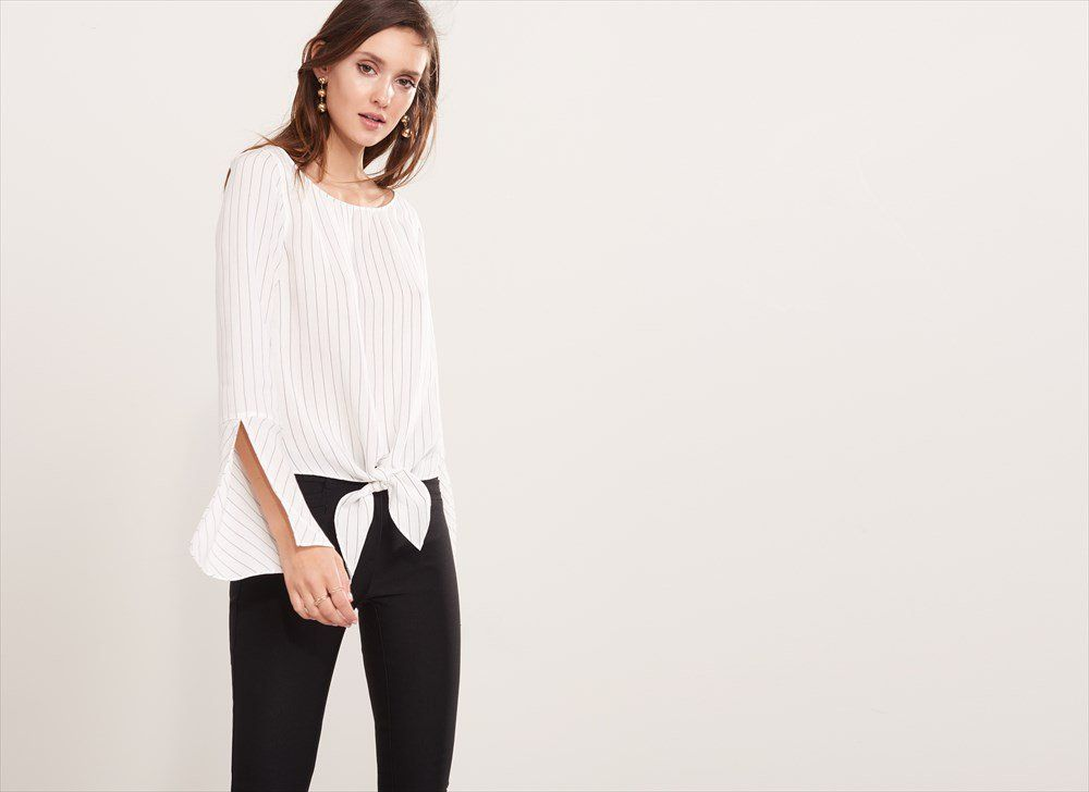 Tie Front Blouse with Bell Sleeves