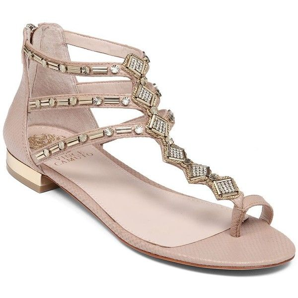 2d5a4257e125 VINCE CAMUTO Hanelli Embellished Synthetic Leather Sandals