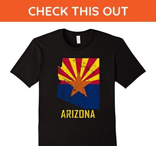 Mens Distressed Vintage Retro Aged Grunge Arizona Flag T-Shirt Large Black - Retro shirts (*Amazon Partner-Link)