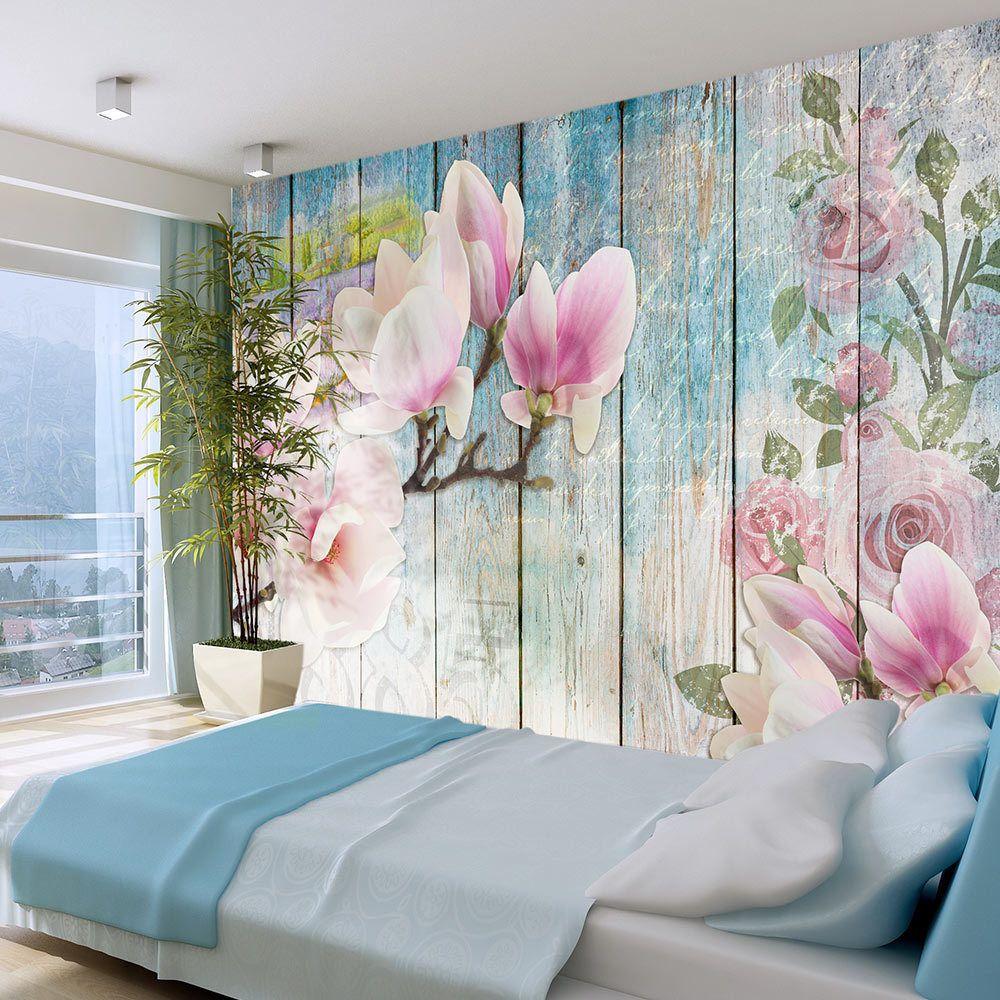 Vlies Tapete Wand Bilder Tulpen-Rose Shabby Holzoptik Foto Tapete Wandtapete