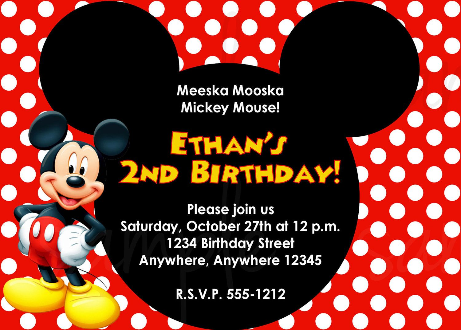 Mickey Mouse Birthday Invite Mickey Mouse Birthday Invitations Mickey Invitations Mickey Mouse Invitation