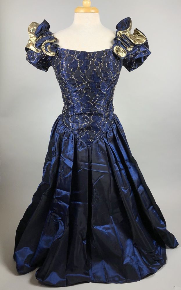 Vintage 80s Blue Gold Taffeta Prom Dress Gown Loralie Original Size