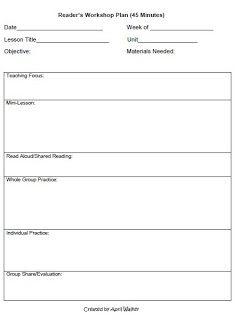 Workshop Model Lesson Plan Template Lesson Plan Templates Everyday Math Lesson Plan Examples