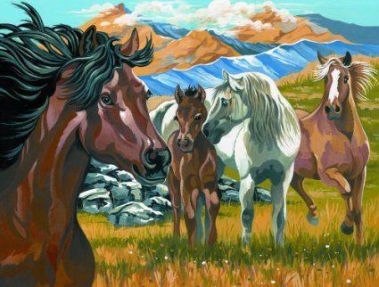 4 pferde malen nach zahlen horses pinterest pferde. Black Bedroom Furniture Sets. Home Design Ideas