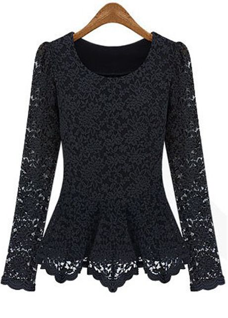 c0582b651ca Long Sleeve Lace Blouse in Black and Apricot