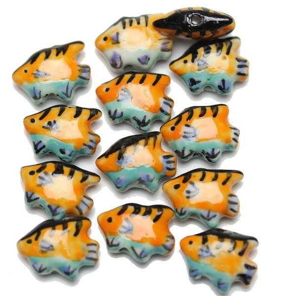 Handmade Ceramic Tropical Fish Orange & Light Blue 13x18mm ...