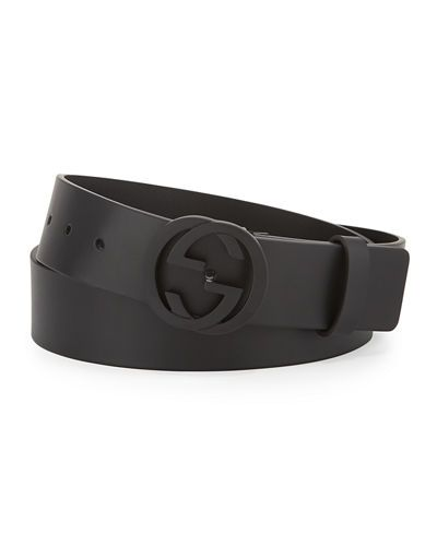 519f2d132679 Leather GG belt with signature interlocking G buckle. Matte black hardware.  Hand-painted edges. Adjustable fit; stud closure. Approx. 1.5