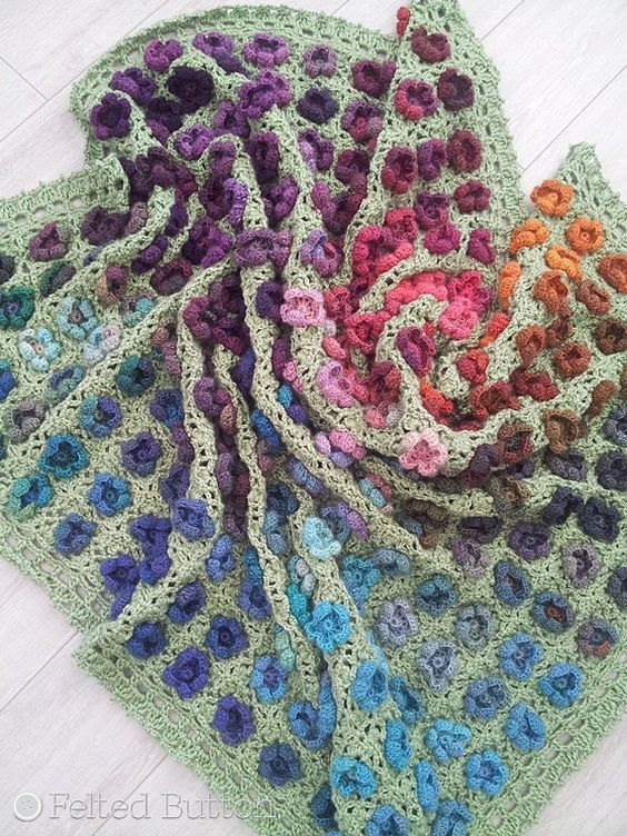 Crochet Pattern, Monet\'s Garden Throw, Afghan, Blanket | Pinterest ...