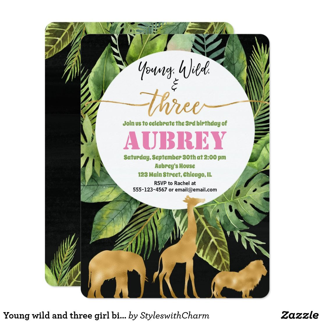 Young Wild And Three Girl Birthday Invitation Gold