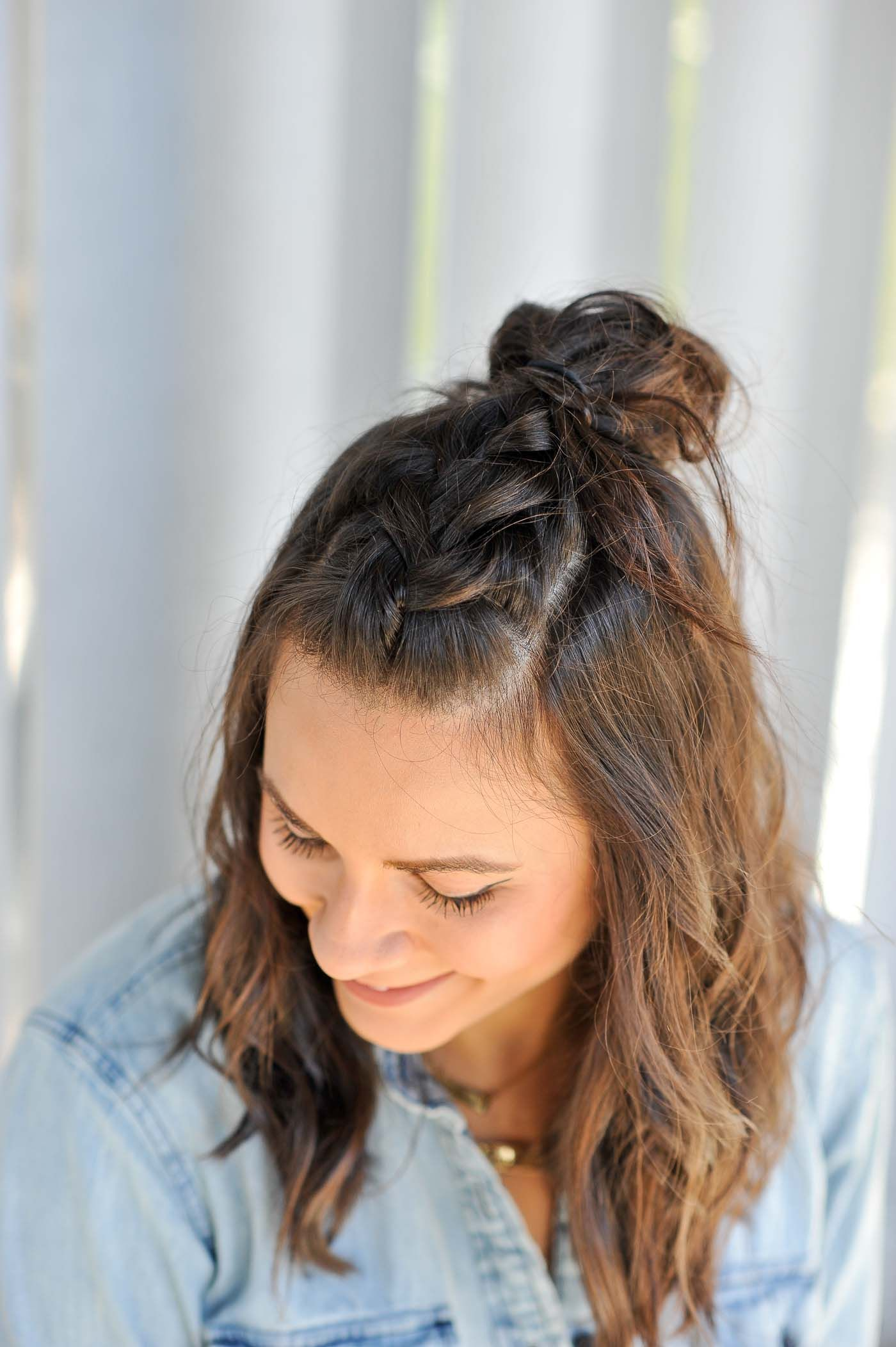 Braided Half Up Half Down Hairstyle Tutorial My Style Vita Half Braided Hairstyles Medium Hair Styles Down Hairstyles