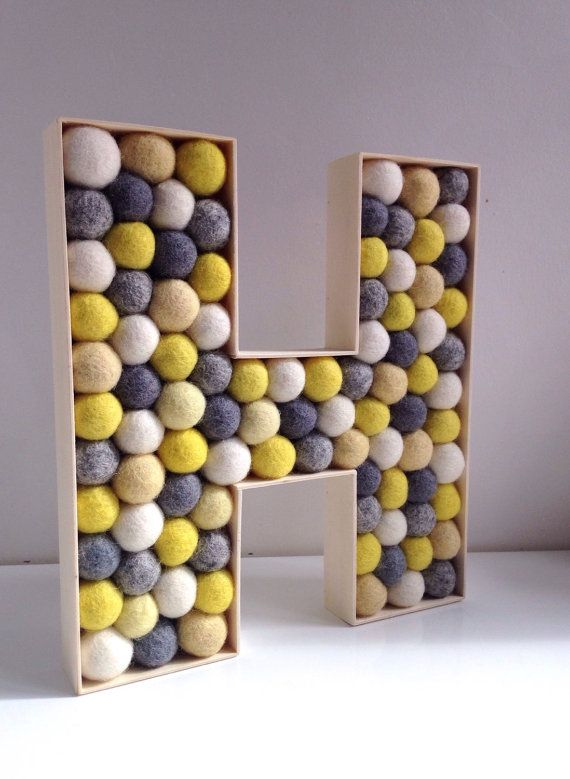 Letter H Wall Decor decorative letter h. felt ball free standing letters. wall letter