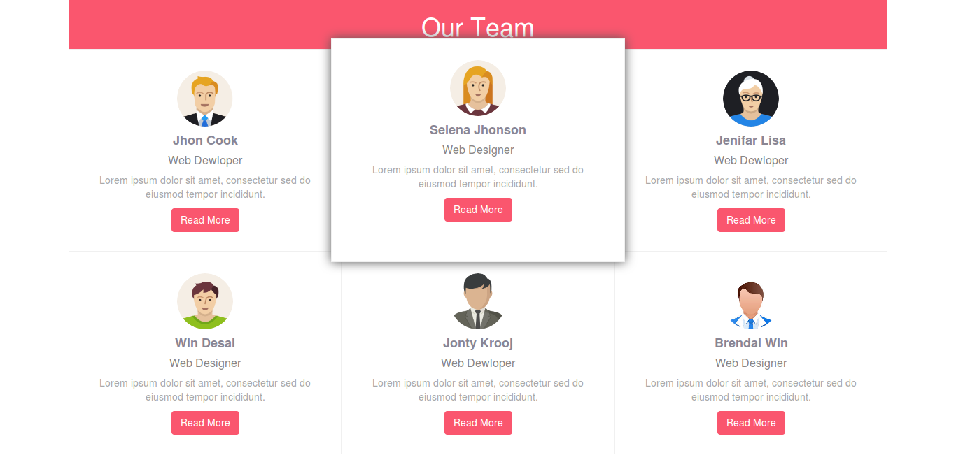 Responsive company team page design with hover effect using