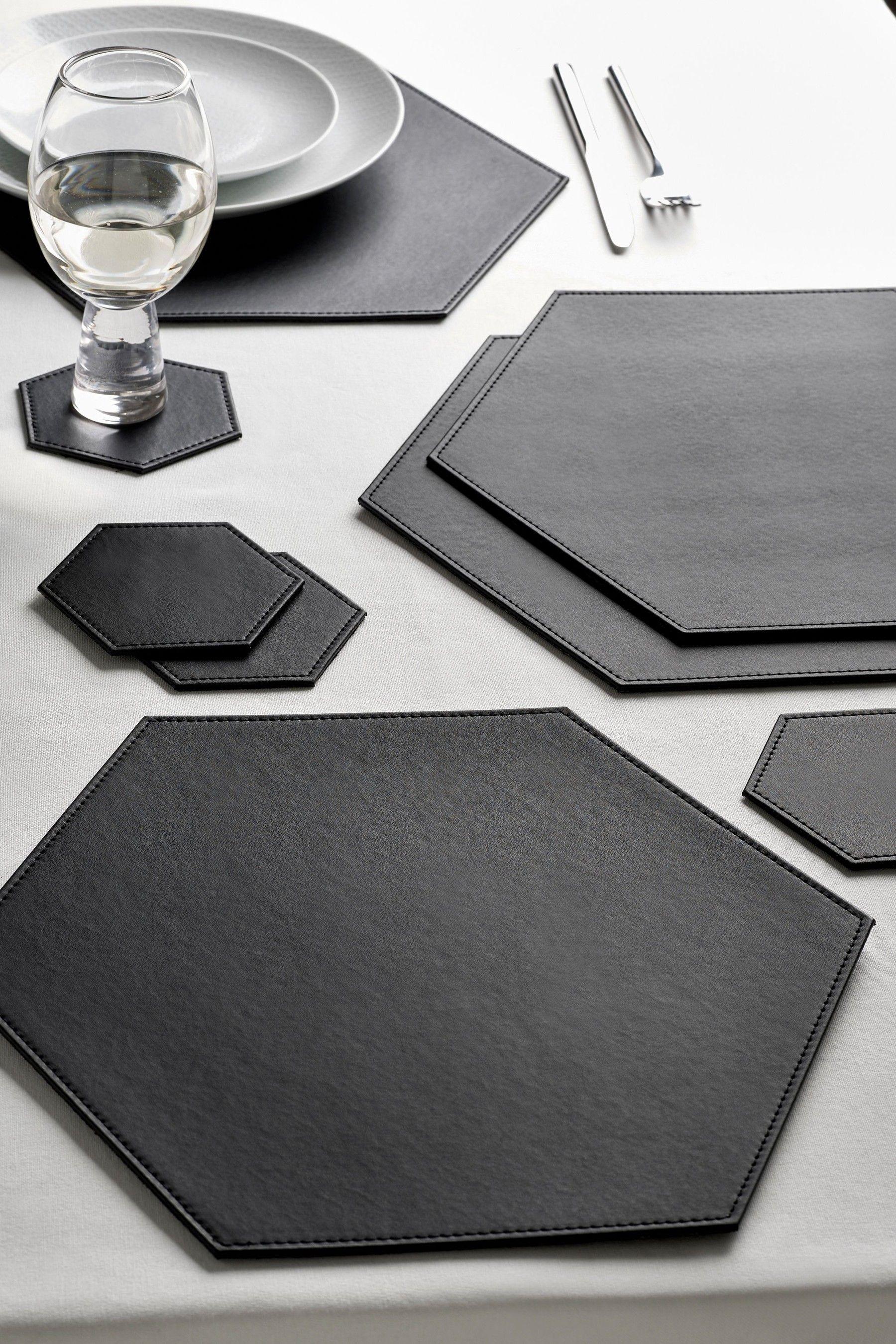 Next Set Of 4 Hexagon Faux Leather Placemats And Coasters Black Como Fazer Sutia Produtos De Couro Projeto De Embalagem