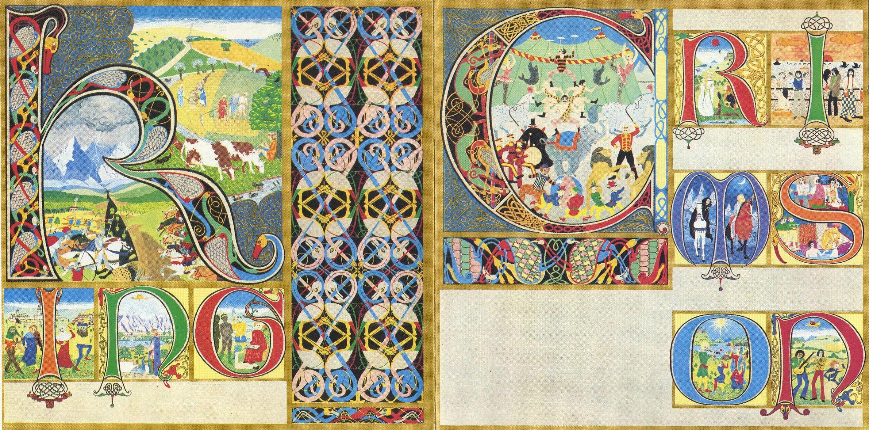 """""""Lizard"""" King Crimson, 1970. La portada fue diseñada por Gini Barris, y presenta las letras de """"King Crimson"""" ornamentadas con motivos medievales, estando la palabra """"King"""" en la parte de atrás del disco, y """"Crimson"""" en la portada. Cada una de estas letras representan una imagen relacionada con los poemas que Peter Sinfield compuso para el álbum. Las letras de """"Crimson"""" representan los distintos movimientos de la canción """"Lizard"""", mientras que """"King"""" representa las cuatro primeras canciones."""
