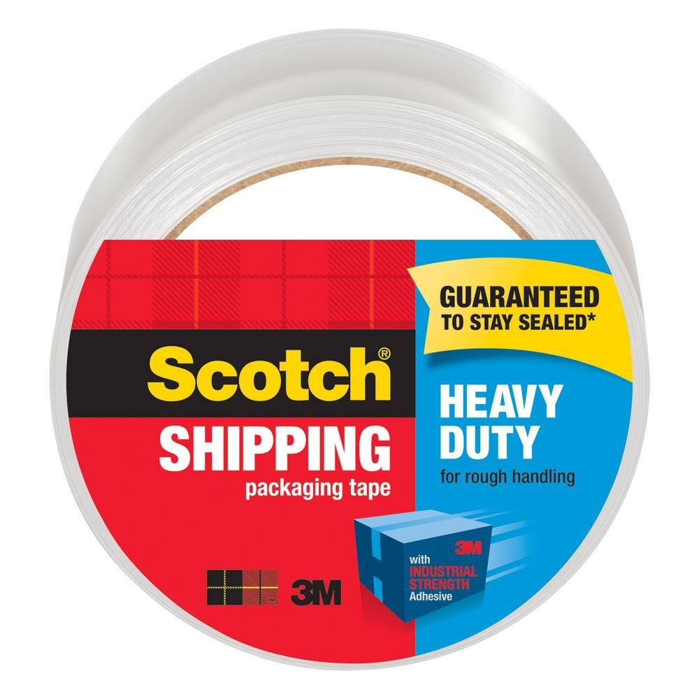 3M 1.88 in. x  54.6 yds. Scotch Heavy-Duty Clear Shipping and Packaging Tape (Case of 12)-3850 - The Home Depot