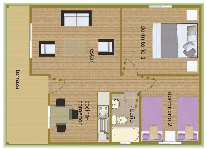 Plano 50 m2 pinteres for Vivir en 50 metros cuadrados