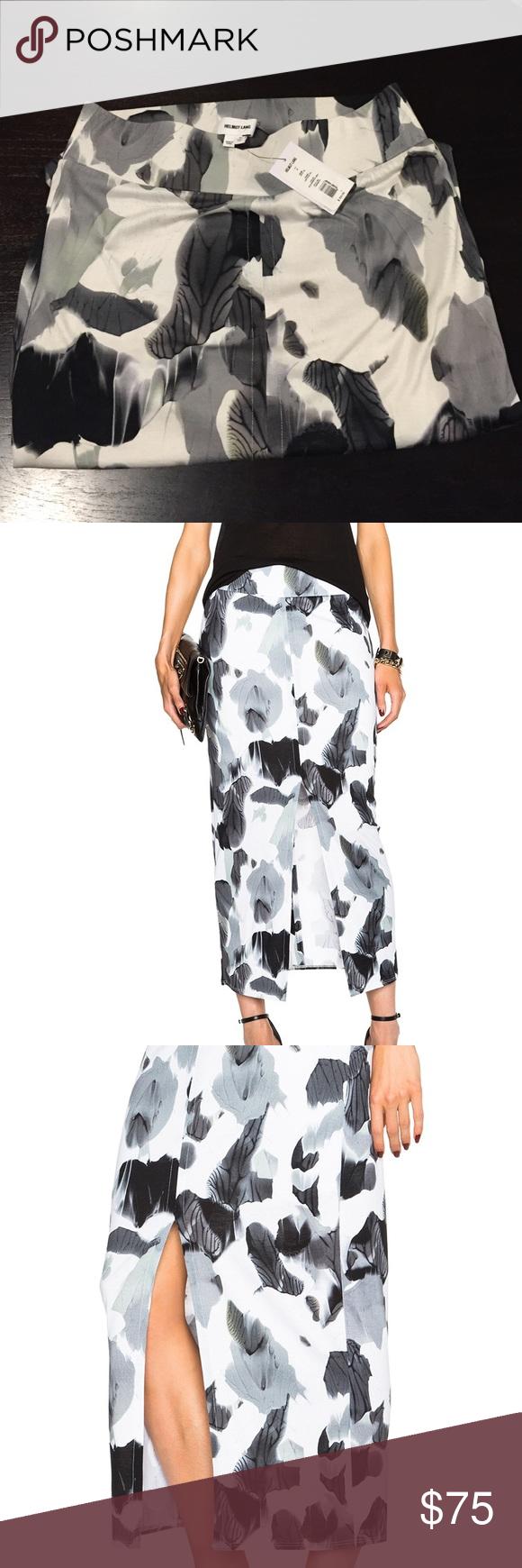 Helmut Lang Women's Crypsis-Print Jersey Skirt Midi skirt with a monochromatic gray and black pattern. Helmut Lang Skirts Midi
