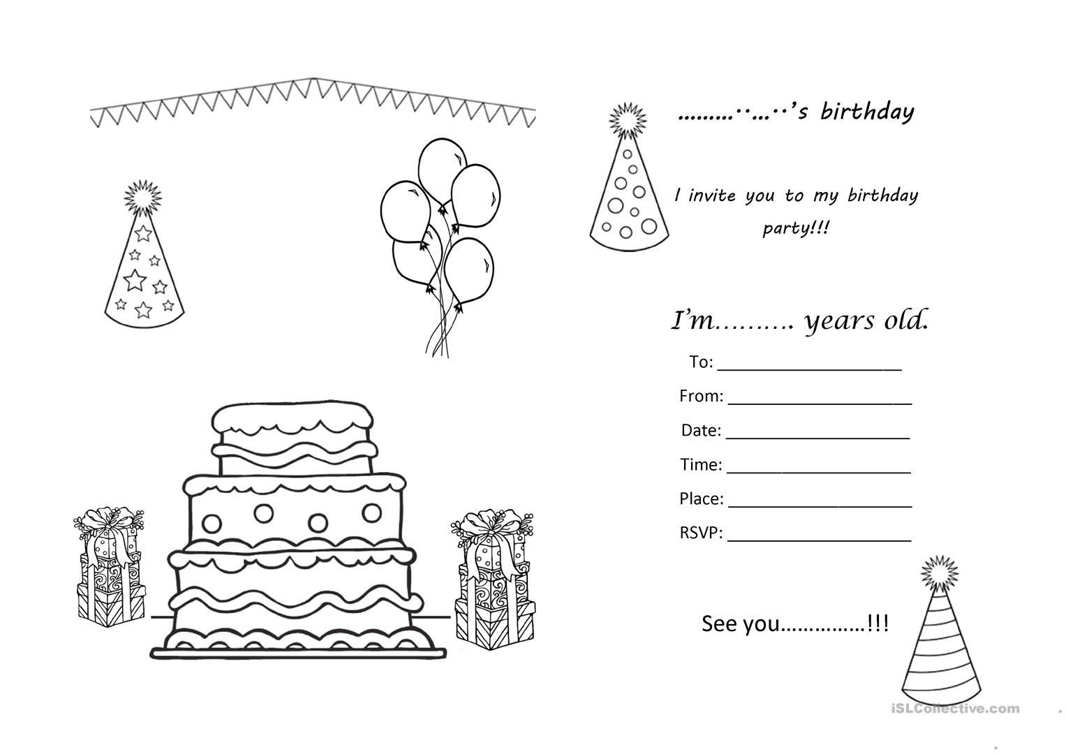 Birthday Party Invitation Worksheet