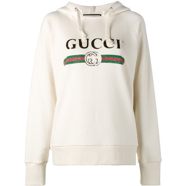 Gucci 'Fake' embroidered hoodie ($2,300) ❤ liked on Polyvore featuring tops,