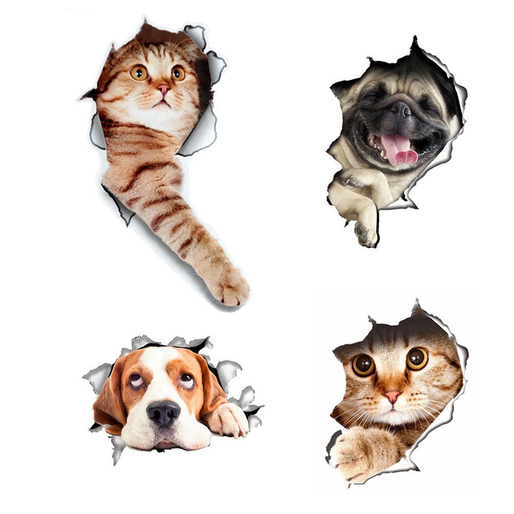 3d Wall Decals Stickers Hole View Vivid Cat And Dog Decals Removable Art Stickers For Bathroom Room Kids Roo 3d Wall Decals Refrigerator Decoration Dog Decals