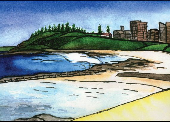 Watercolour Print  Newcastle Beach by TheBlueOctopusStudio on Etsy
