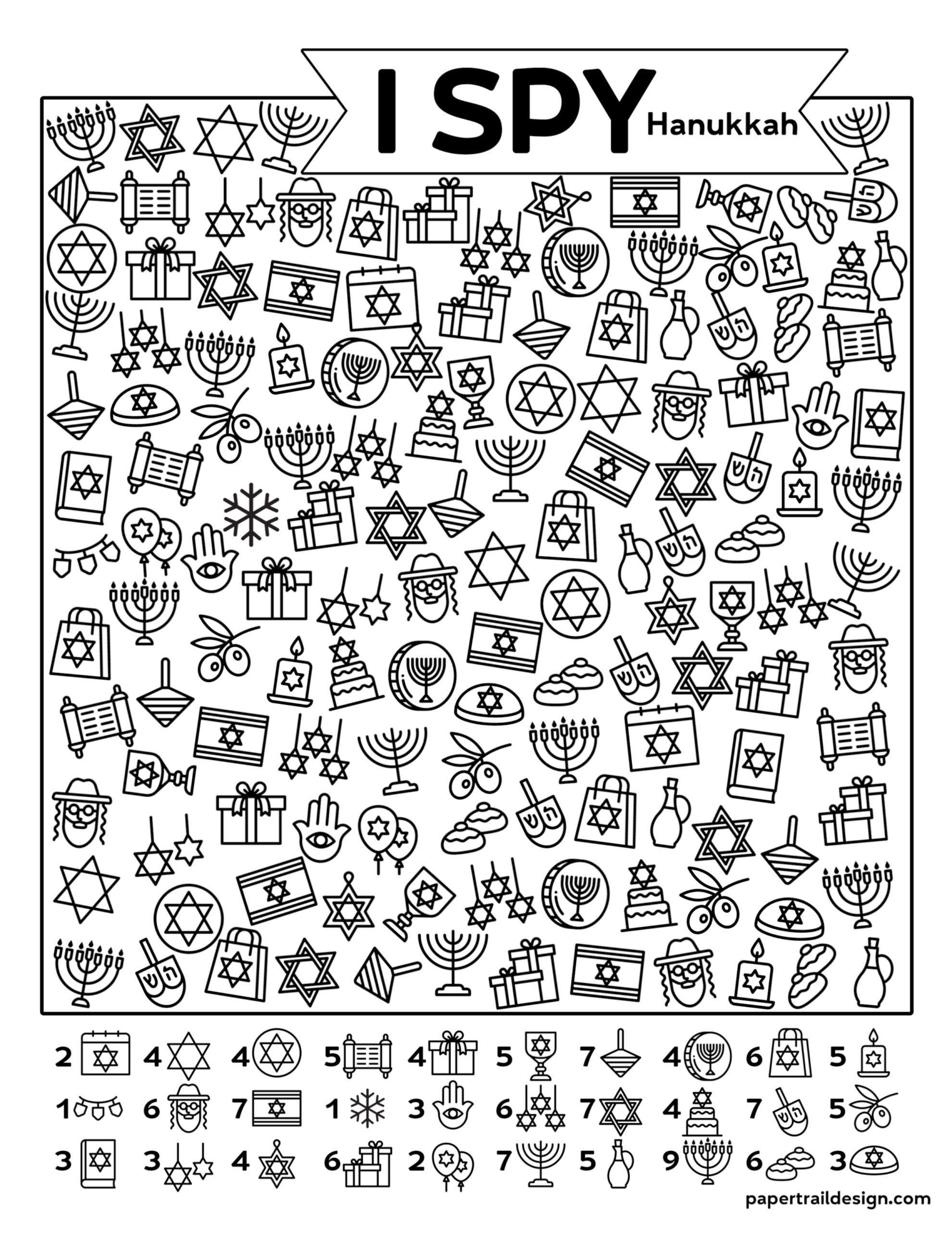 Free Printable I Spy Hanukkah Game Paper Trail Design Paper Trail Hanukkah For Kids Kids Hanukkah Crafts [ 2562 x 1980 Pixel ]