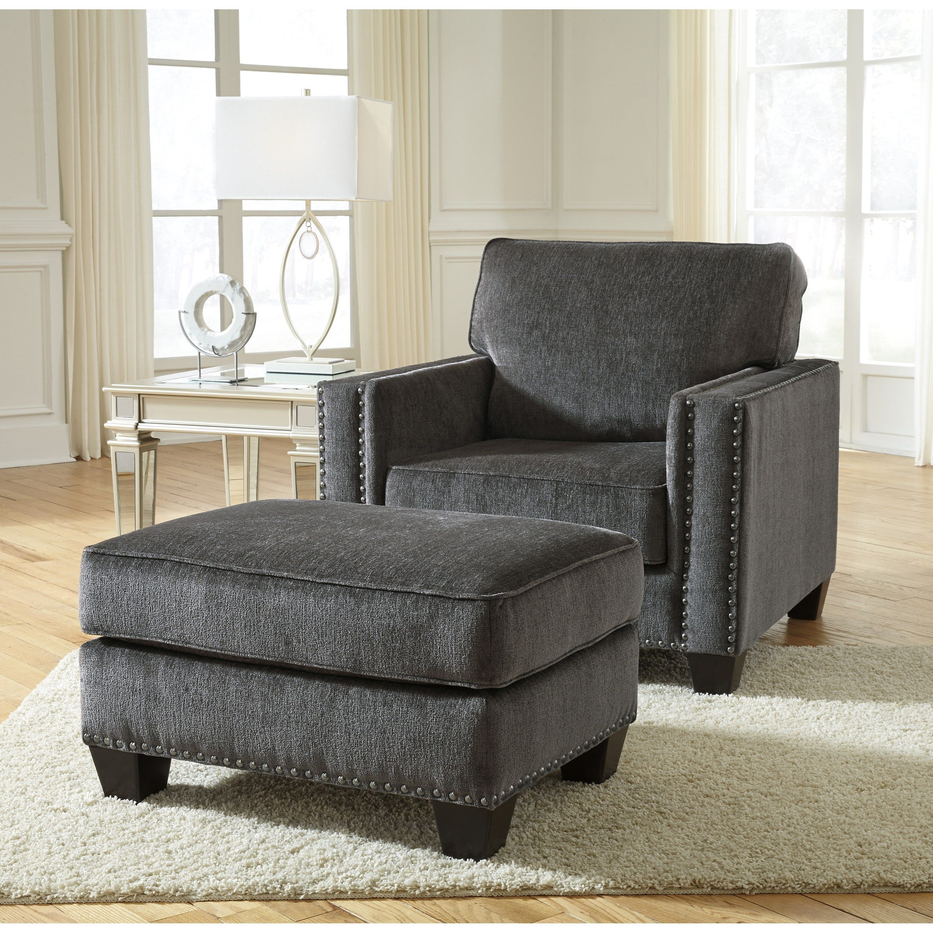 Cool Gavril Contemporary Chair And Ottoman With Nailhead Trim By Uwap Interior Chair Design Uwaporg