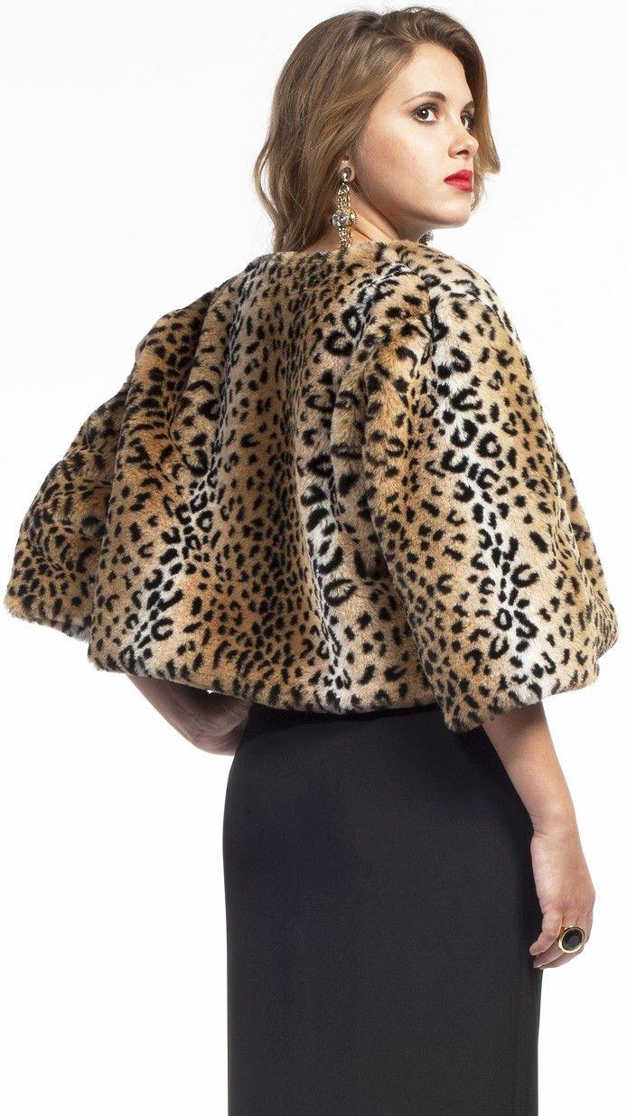 DRESSEOS - Abrigo de piel sintética leopardo 14c7c229c1b4