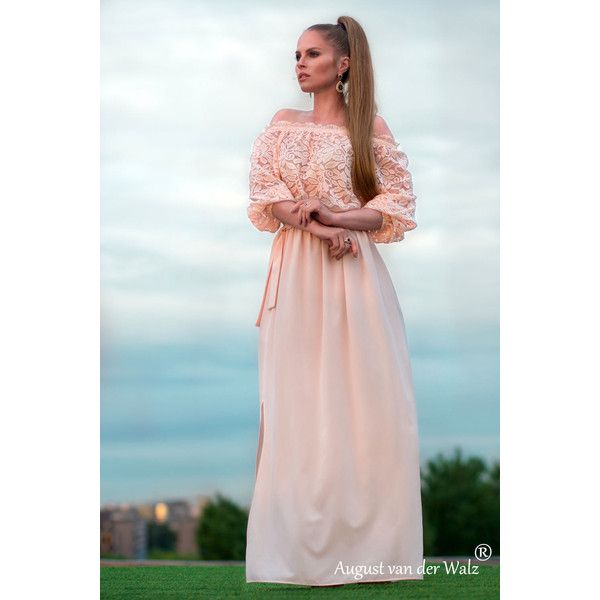 cream color summer Dress, maxi off shoulder dress plus size, full... (240.685 COP) ❤ liked on Polyvore featuring dresses, gowns, plus size evening dresses, long white dress, long maxi dresses, lace maxi dress and plus size evening gowns