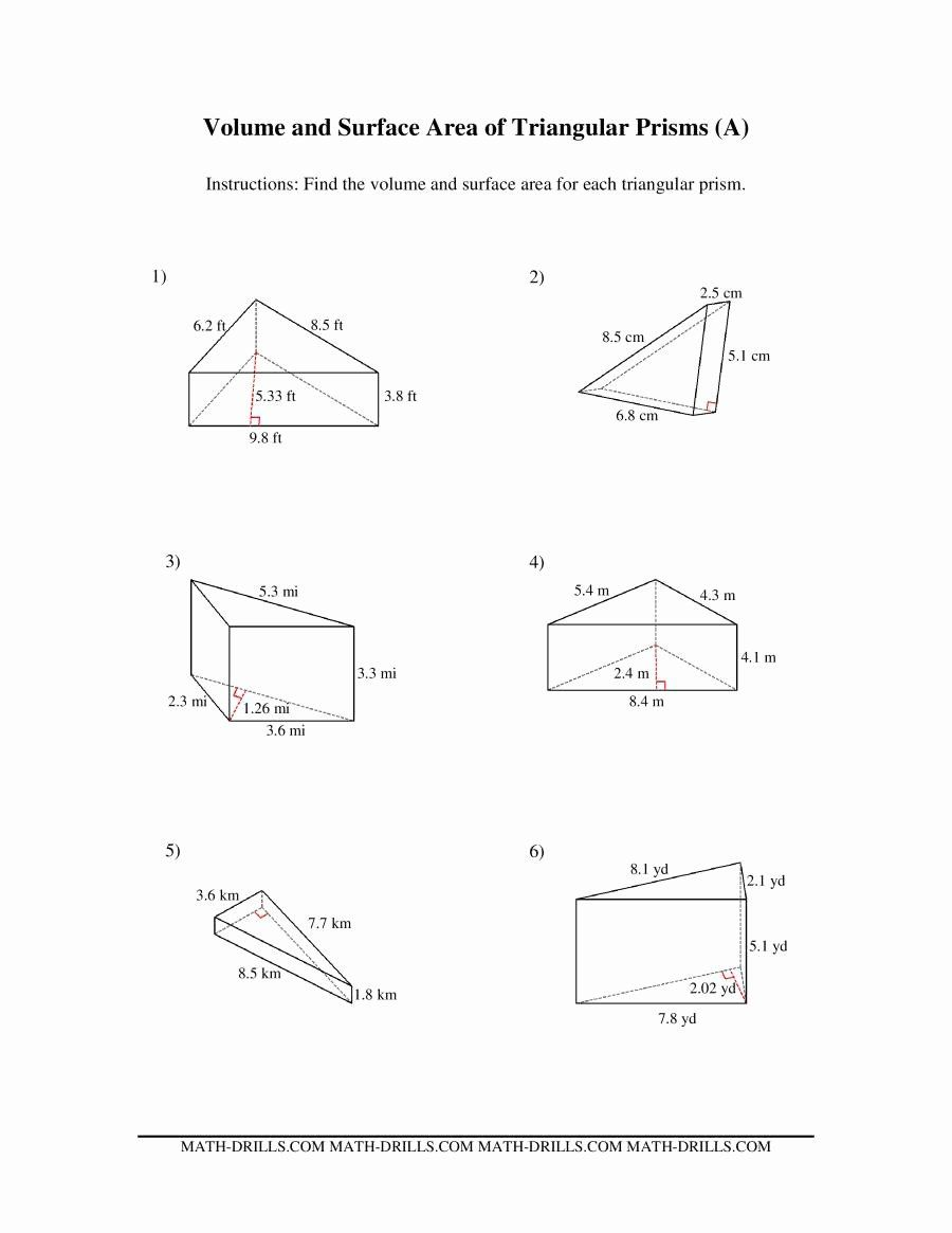Surface Area Of Pyramid Worksheet Best Of Volume And Surface Area Of Triangular Prisms A In 2020 Area Worksheets Volume Worksheets Triangular Prism