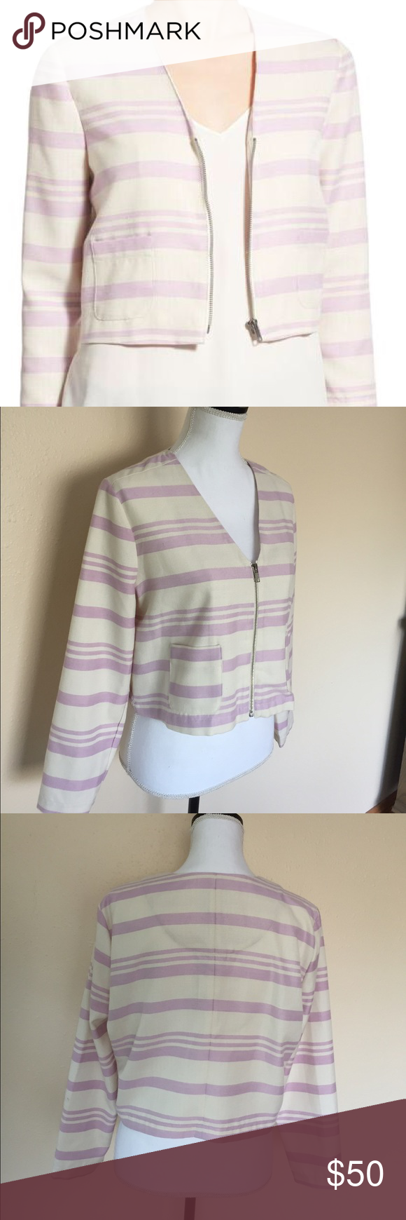 cupcakes and cashmere NWT Stripe Crop Jacket SZ L Brand new with tags Cupcakes and cashmere Jackets & Coats Blazers